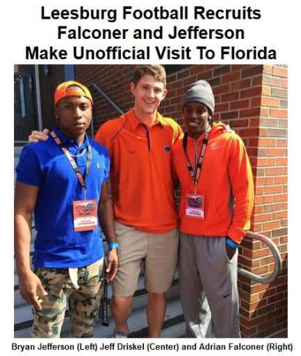 2014 Leesburg Yellow Jackets Football Archives, Jackets Wide Receiver Bryan Jefferson (Left), Florida Gators quarterback Jeff Driskel (Center) and Jackets Wide Receiver Adrian Falconer pose for a photo during a unofficial visit to the University of Florida campus recently. (Photo Courtesy of Bryan Jefferson)Carver Heights Quarterback Club, Leesburg High School, Leesburg, Florida.