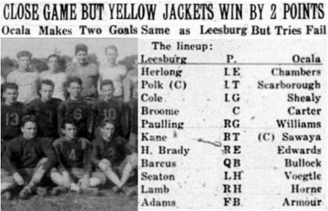 1930 Leesburg Yellow Jackets Football Archives, Leesburg vs Ocala High School Football Game, Starting Lineups, Friday, October 31, 1930, Carver Heights Quarterback Club, Leesburg High School, Leesburg, Florida