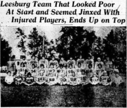 1944 Leesburg Yellow Jackets Football Archives, 1944 Varsity Football Team, Jackets Conference Football Champions, Leesburg High School, Leesburg, Florida