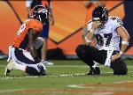 DENVER, CO - SEPTEMBER 5: Dallas Clark #87 of the Baltimore Ravens reacts following an incomplete pass in the second quarter against the Denver Broncos during the game at Sports Authority Field at Mile High on September 5, 2013 in Denver Colorado. (Photo by Doug Pensinger/Getty Images)